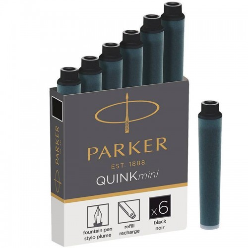 Черные мини картриджи Parker (Паркер) Quink Mini Cartridges Black 6 шт