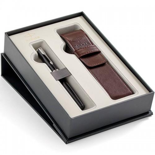 Набор с чехлом и перьевой ручкой Parker (Паркер) Sonnet Core Black Lacquer CT M