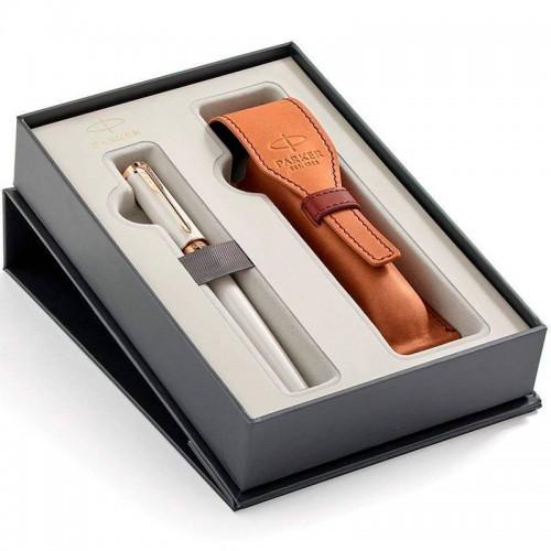 Набор с чехлом из натуральной кожи и ручкой Parker (Паркер) 5th Ingenuity Slim Pearl PGT M