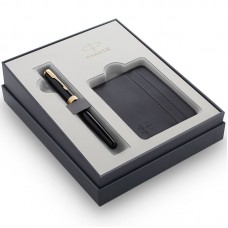Подарочный набор Parker (Паркер) Sonnet Black GT из перьевой ручки и футляра для кредитных карт