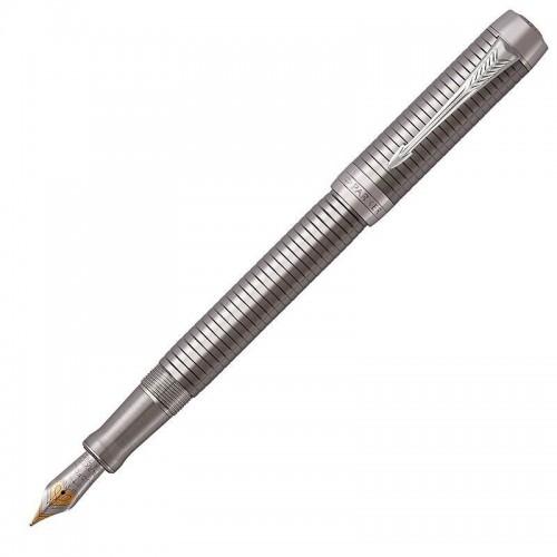 Перьевая ручка Parker (Паркер) Duofold Prestige Ruthenium Chiselled CT M